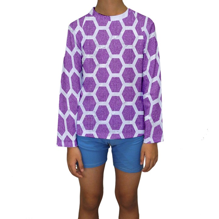 HEXAGON2 WHITE MARBLE & PURPLE DENIM Kids  Long Sleeve Swimwear