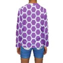 HEXAGON2 WHITE MARBLE & PURPLE DENIM Kids  Long Sleeve Swimwear View2