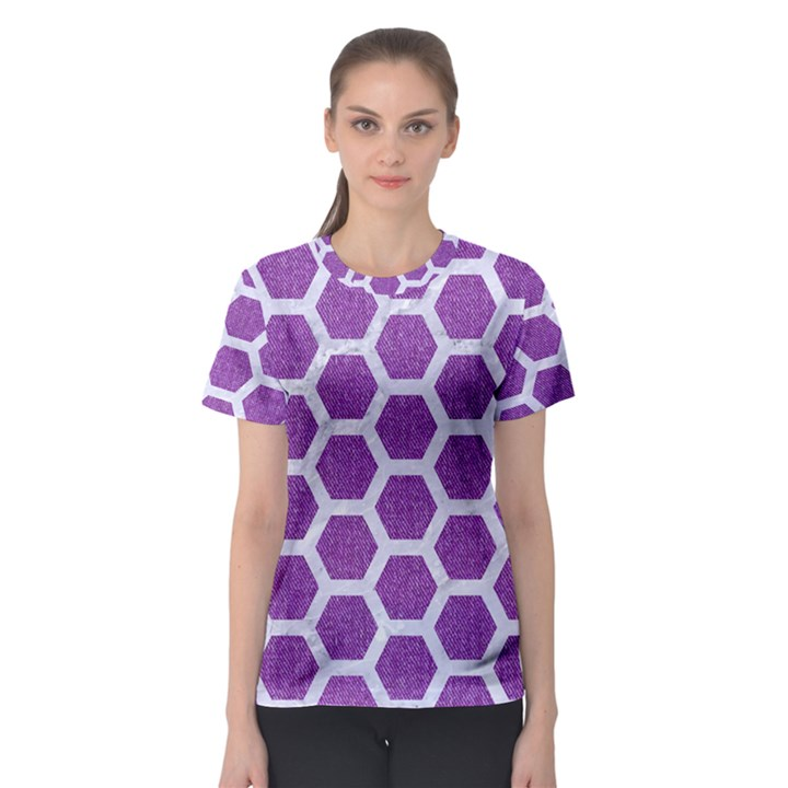 HEXAGON2 WHITE MARBLE & PURPLE DENIM Women s Sport Mesh Tee