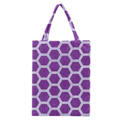 Hexagon2 White Marble & Purple Denim Classic Tote Bag
