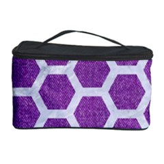 Hexagon2 White Marble & Purple Denim Cosmetic Storage Case by trendistuff