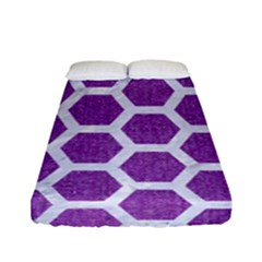 Hexagon2 White Marble & Purple Denim Fitted Sheet (full/ Double Size)