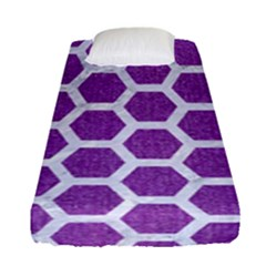Hexagon2 White Marble & Purple Denim Fitted Sheet (single Size) by trendistuff