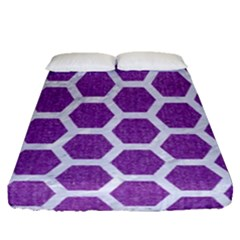 Hexagon2 White Marble & Purple Denim Fitted Sheet (queen Size)