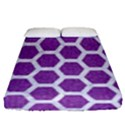 HEXAGON2 WHITE MARBLE & PURPLE DENIM Fitted Sheet (Queen Size) View1