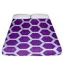 HEXAGON2 WHITE MARBLE & PURPLE DENIM Fitted Sheet (California King Size) View1