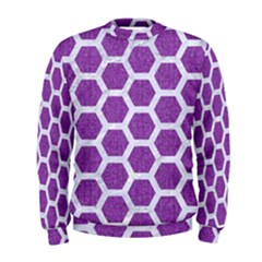 HEXAGON2 WHITE MARBLE & PURPLE DENIM Men s Sweatshirt