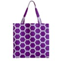 HEXAGON2 WHITE MARBLE & PURPLE DENIM Zipper Grocery Tote Bag View1