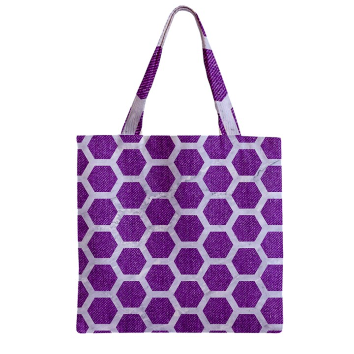 HEXAGON2 WHITE MARBLE & PURPLE DENIM Zipper Grocery Tote Bag