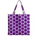HEXAGON2 WHITE MARBLE & PURPLE DENIM Zipper Grocery Tote Bag View2
