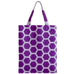 Hexagon2 White Marble & Purple Denim Zipper Classic Tote Bag
