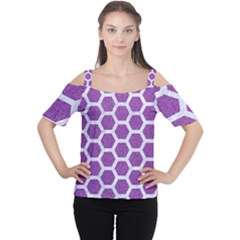 Hexagon2 White Marble & Purple Denim Cutout Shoulder Tee