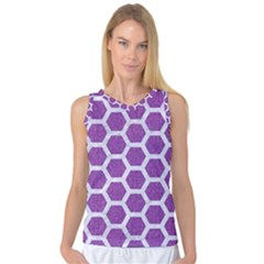 Hexagon2 White Marble & Purple Denim Women s Basketball Tank Top