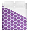 HEXAGON2 WHITE MARBLE & PURPLE DENIM Duvet Cover (Queen Size) View1