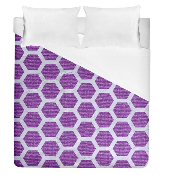HEXAGON2 WHITE MARBLE & PURPLE DENIM Duvet Cover (Queen Size)