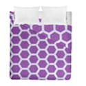 HEXAGON2 WHITE MARBLE & PURPLE DENIM Duvet Cover Double Side (Full/ Double Size) View1