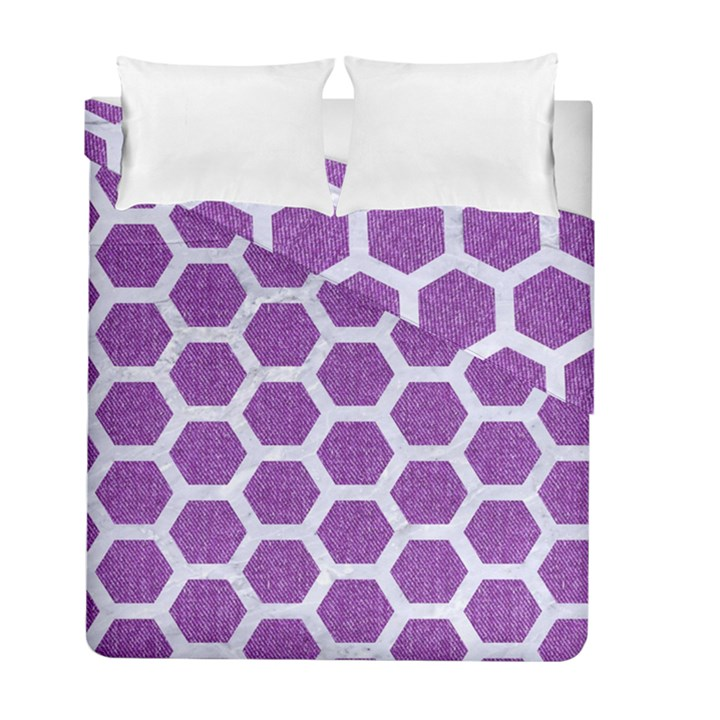 HEXAGON2 WHITE MARBLE & PURPLE DENIM Duvet Cover Double Side (Full/ Double Size)