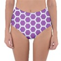 HEXAGON2 WHITE MARBLE & PURPLE DENIM Reversible High-Waist Bikini Bottoms View1