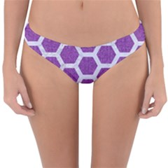 Hexagon2 White Marble & Purple Denim Reversible Hipster Bikini Bottoms