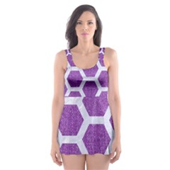 Hexagon2 White Marble & Purple Denim Skater Dress Swimsuit