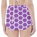 HEXAGON2 WHITE MARBLE & PURPLE DENIM High-Waisted Bikini Bottoms View2
