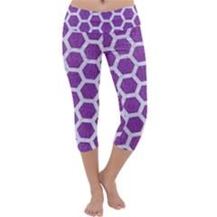 Hexagon2 White Marble & Purple Denim Capri Yoga Leggings