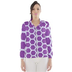 Hexagon2 White Marble & Purple Denim Wind Breaker (women)