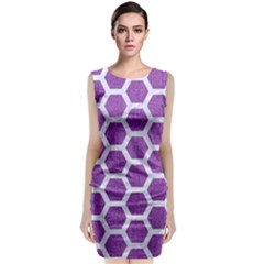 Hexagon2 White Marble & Purple Denim Classic Sleeveless Midi Dress
