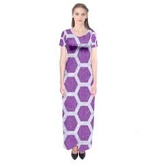 HEXAGON2 WHITE MARBLE & PURPLE DENIM Short Sleeve Maxi Dress