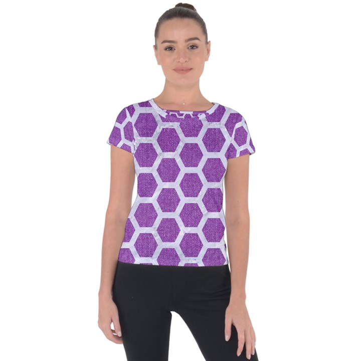 HEXAGON2 WHITE MARBLE & PURPLE DENIM Short Sleeve Sports Top