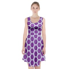 Hexagon2 White Marble & Purple Denim Racerback Midi Dress by trendistuff