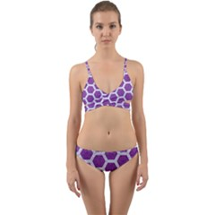 Hexagon2 White Marble & Purple Denim Wrap Around Bikini Set