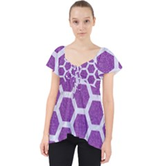 Hexagon2 White Marble & Purple Denim Lace Front Dolly Top