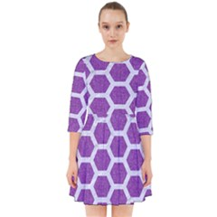 Hexagon2 White Marble & Purple Denim Smock Dress