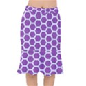 HEXAGON2 WHITE MARBLE & PURPLE DENIM Mermaid Skirt View1