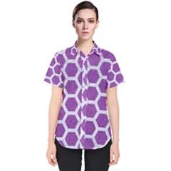 HEXAGON2 WHITE MARBLE & PURPLE DENIM Women s Short Sleeve Shirt