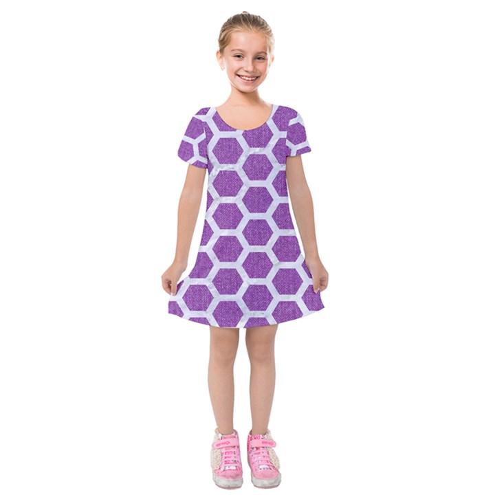 HEXAGON2 WHITE MARBLE & PURPLE DENIM Kids  Short Sleeve Velvet Dress