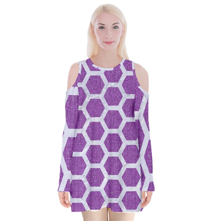 HEXAGON2 WHITE MARBLE & PURPLE DENIM Velvet Long Sleeve Shoulder Cutout Dress