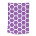 HEXAGON2 WHITE MARBLE & PURPLE DENIM Small Tapestry View1