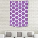 HEXAGON2 WHITE MARBLE & PURPLE DENIM Small Tapestry View2