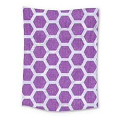 Hexagon2 White Marble & Purple Denim Medium Tapestry