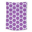 HEXAGON2 WHITE MARBLE & PURPLE DENIM Medium Tapestry View1