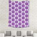 HEXAGON2 WHITE MARBLE & PURPLE DENIM Medium Tapestry View2