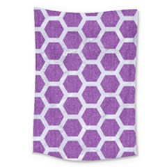 Hexagon2 White Marble & Purple Denim Large Tapestry