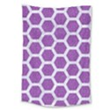 HEXAGON2 WHITE MARBLE & PURPLE DENIM Large Tapestry View1