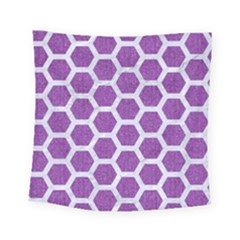 Hexagon2 White Marble & Purple Denim Square Tapestry (small)