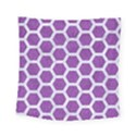 HEXAGON2 WHITE MARBLE & PURPLE DENIM Square Tapestry (Small) View1