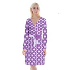 HEXAGON2 WHITE MARBLE & PURPLE DENIM Long Sleeve Velvet Front Wrap Dress