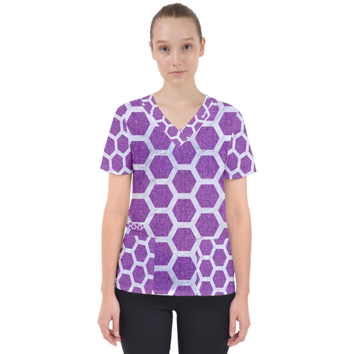HEXAGON2 WHITE MARBLE & PURPLE DENIM Scrub Top
