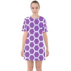 Hexagon2 White Marble & Purple Denim Sixties Short Sleeve Mini Dress